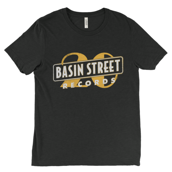Basin Street Records 20th Anniversary T-Shirt in Charcoal Grey with aged 20th Anniversary Logo