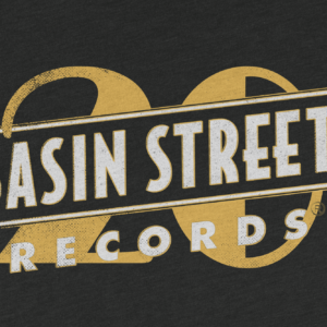 Basin Street Records aged 20th Anniversary Logo on T-Shirt