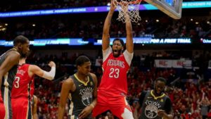 Anthony Davis dunks in an NBA game