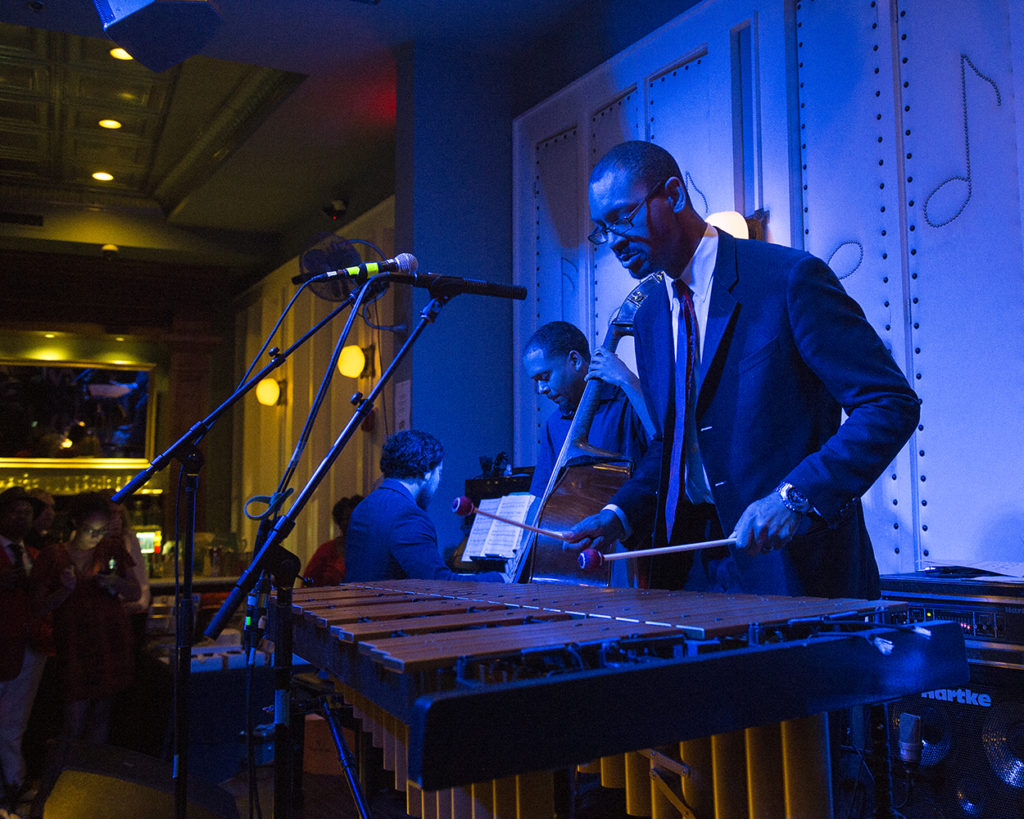 Jason Marsalis performs vibraphone at Little Gem Saloon in New Orleans during the Basin Street Records 20th Anniversary Kickoff Show for the album Live at Little Gem Saloon