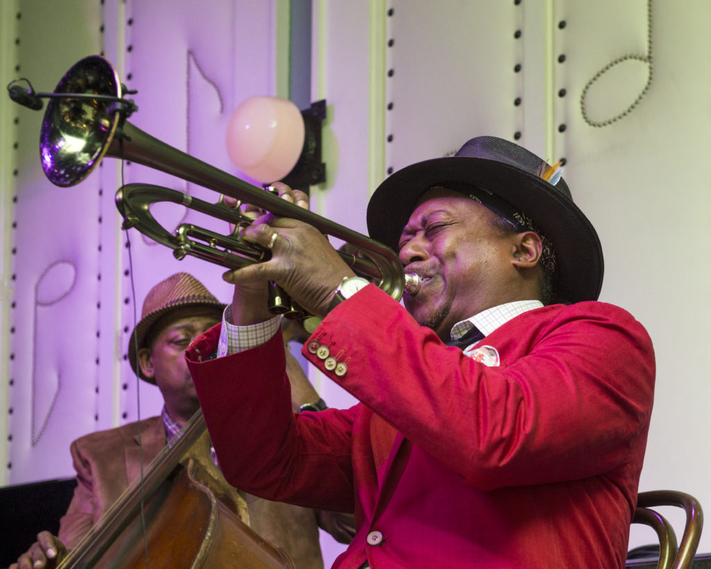 Kermit Ruffins performs at the Little Gem Saloon on May 5, 2017 - Photo by Erika Goldring
