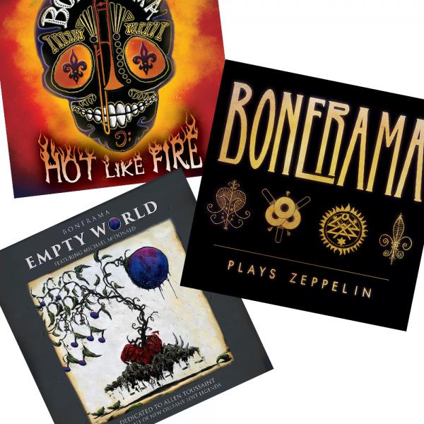 Bonerama Gift Pack including images of Hot Like Fire, Bonerama Plays Zeppelin, and Empty World