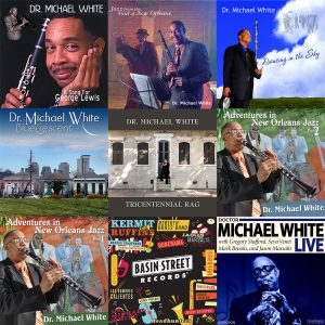 Dr. Michael White Gift Pack Cover Art depicting all eight album covers by Dr. Michael White and the Basin Street Records bumper sticker