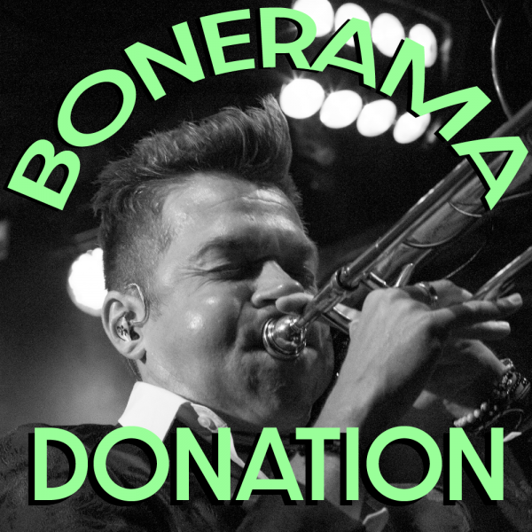 A black and white image of Bonerama trombonist and founder Mark Mullins playing the trombone with the text Bonerama Donation