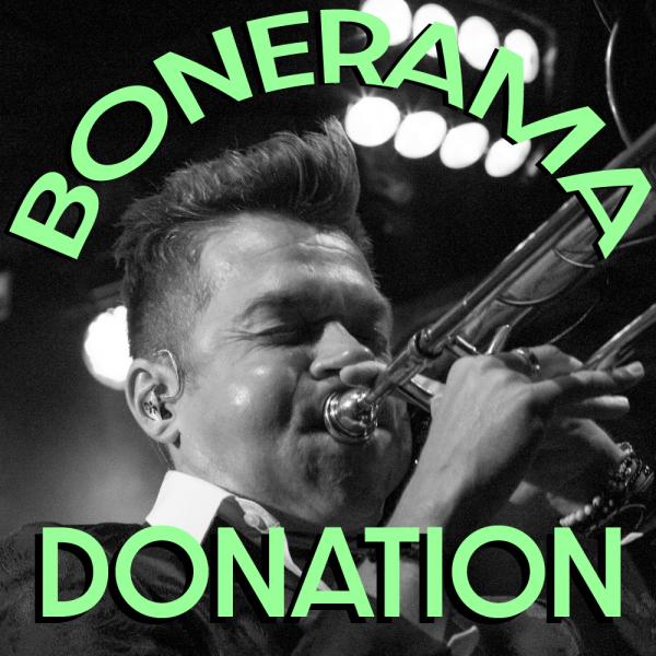 A black and white image of Bonerama trombonist and founder Mark Mullins playing the trombone with the text Bonerama Donation