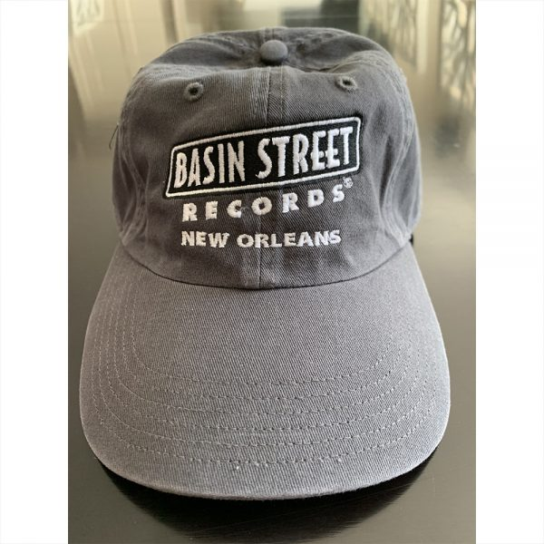 Grey Baseball hat with black Basin Street Records logo embroidered on front