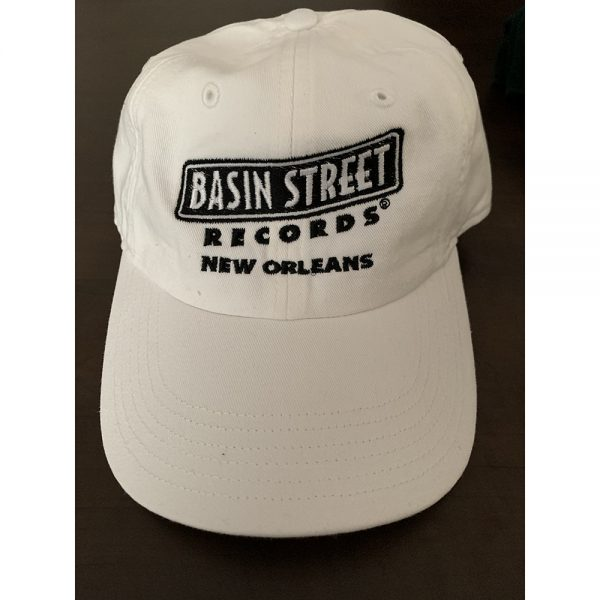 "Adjustable golf-style ""dad"" hat in white with the Basin Street Records Logo embroidered on the front"