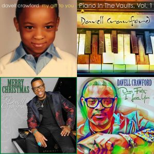 Cover Art for the Davell Crawford Gift Pack featuring the covers of My Gift To You; Piano in the Vaults, Vol. 1; Merry Christmas From Davell Crawford; and Dear Fats, I Love You